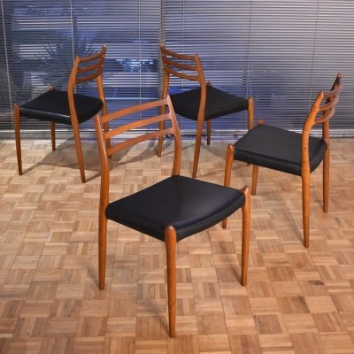 Set of 4 Niels O. Møller Model 78 Teak Chairs, 1960s