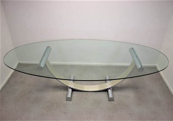 Half moon Romeo Rega Dining table, Italian Design 1970s
