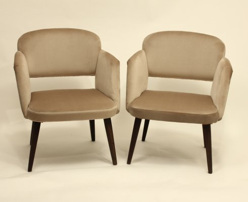 Pair of Velvet Chairs, 1960s