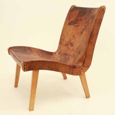 Cow leather lounge chair, 1950s