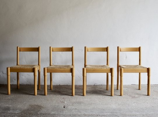 Set of 4 Rush Dining Chairs, 1980s