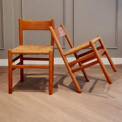 Set of 2 Dining Chairs with Rush Seats by J.W. van Heuvel for Ad Vorm, 1960s