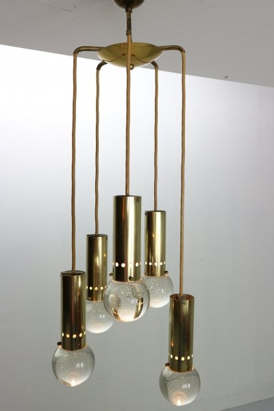 Gino Sarfatti for Arteluce Unique Brass Bubble Pendant Lamp, Italy 1950