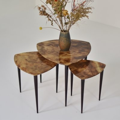 Set of three 'goatskin' nesting tables by Aldo Tura, Italy 1960s