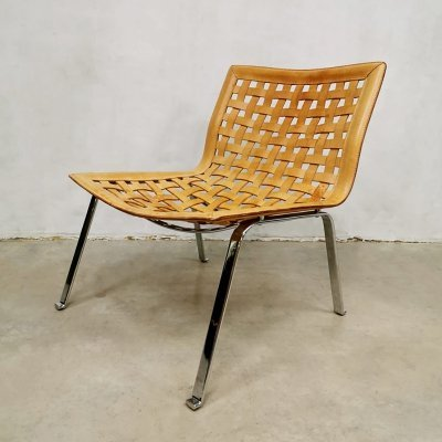Vintage leather Net easy chair by Giancarlo Vegni for Fasem