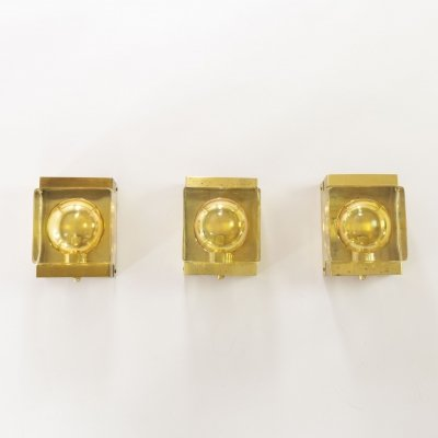 Set of three gold coloured Maritim wall lamps by Vitrika