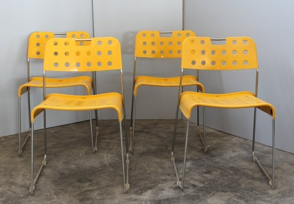 Set of 4 Omstack dining chairs by Rodney Kinsman for Bieffeplast, 1960s