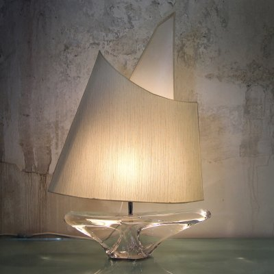 XL Crystal Sail Boat Table Lamp by Daum France, Signed 1960s