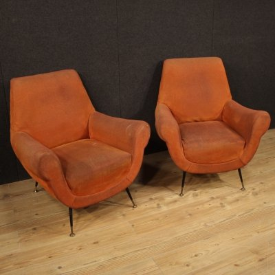 Pair of 20th Century Orange Fabric Italian Design Armchairs, 1960s