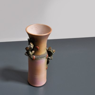 Ceramic glazed vase with sculptured frogs by Joop Cock, Holland 1980s