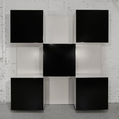 Iluminated bookcase with five elements by Roberto Monsani for Acerbis