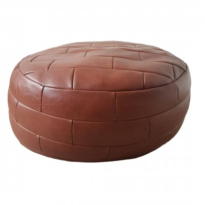 Round thick cognac brown leather patchwork pouf