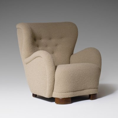 Danish Cabinetmakers Lounge Chair in Bouclé, 1940s