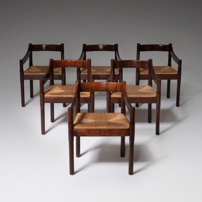 Set of 6 Carimate dining chairs by Vico Magistretti, 1960s