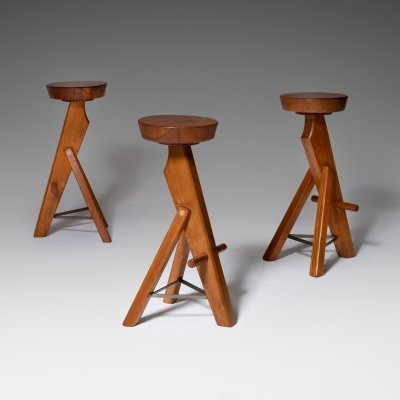 Set of 3 Brutalist Bar Stools in Solid Oak, 1960s