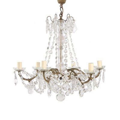 French Gilt Metal & Crystal Chandelier