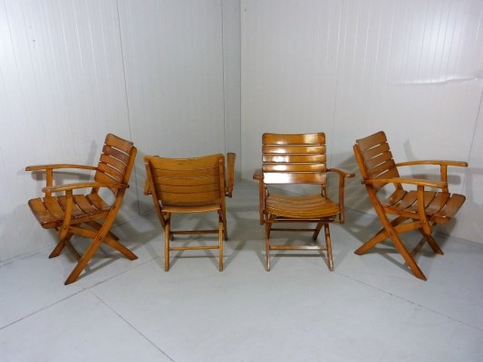 1960's Wooden Garden Folding Chairs by Herlag