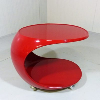Deep red Spaceage side table on wheels by Opal, Germany