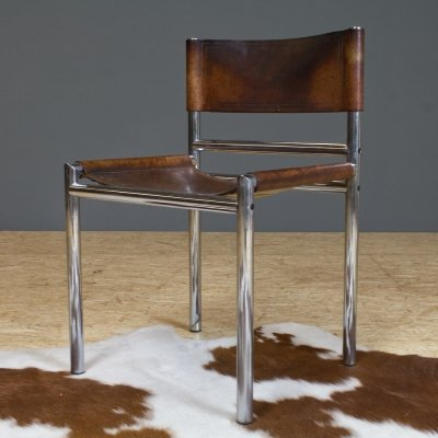 Vintage modernist dining chair in leather & chrome, 1960s