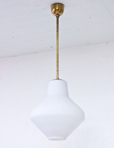 Swedish 1950s Opaline Glass & Brass Ceiling Lamp
