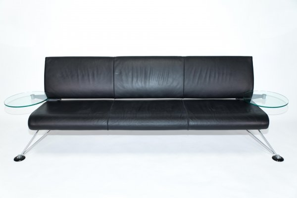 Black leather sofa by Roy Fleetwood for Vitra, Signed 1990s