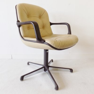 Comforto Executive leather dining office chair by Charles Pollock