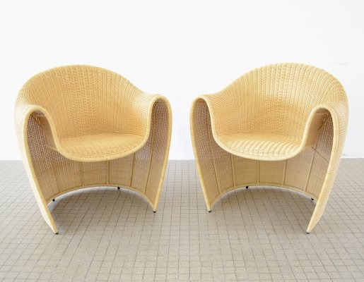 Driade 'King Tubby' set of rattan armchairs by Miki Astori, 1995