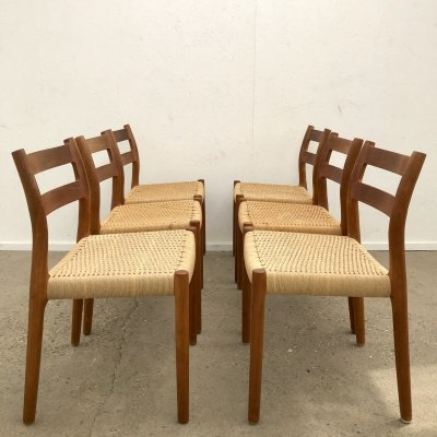 Set of 6 Danish Model 84 teak & paper cord dining chairs by Niels Otto Møller, 1960s