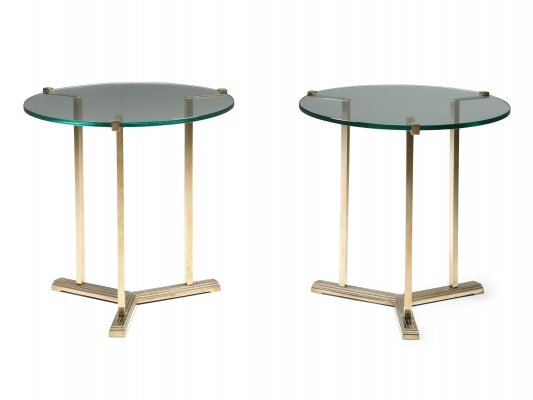 Brass Side Tables by Peter Ghyczy, 1980s