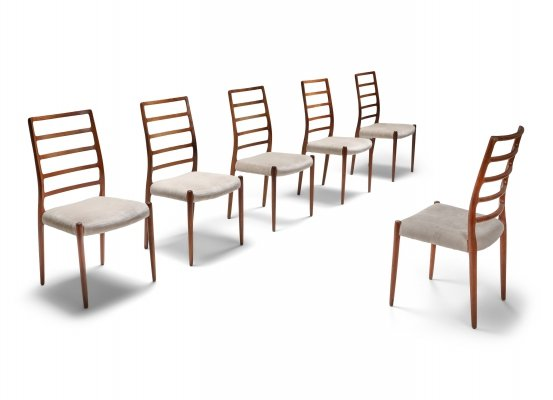 Set of 6 Niels Møller Model 82 Danish Rosewood Dining Chairs, 1970s
