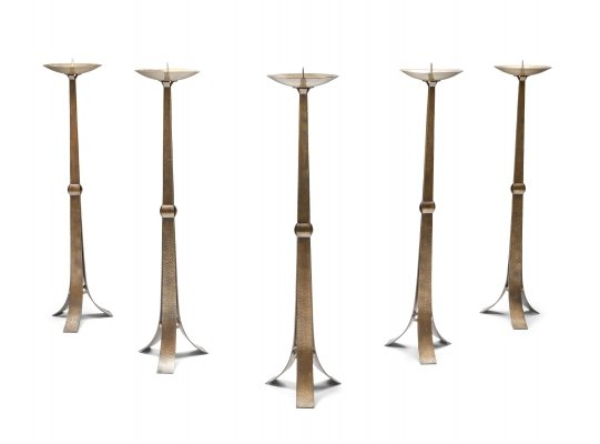 Brass Hammered Candelabra, 1950s