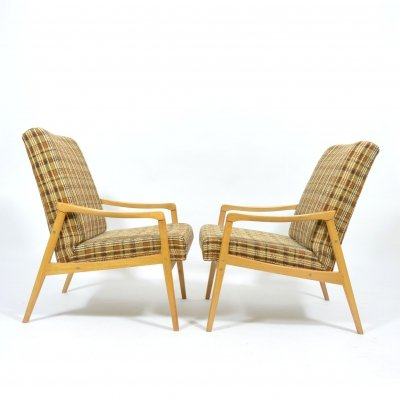 Set of two simple checkered armchairs by TON, 1960s
