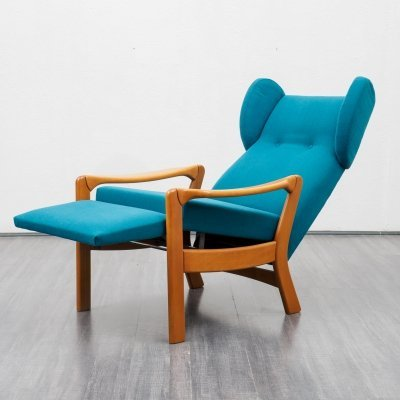 Mid-Century 1970s wing chair in beechwood