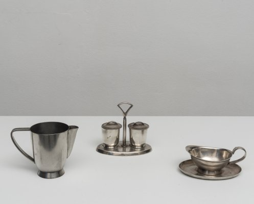 Alpaca serving set by Gio Ponti for Fratelli Calderoni, 1960s