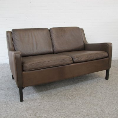 Vintage Danish leather two seat sofa, 1960s