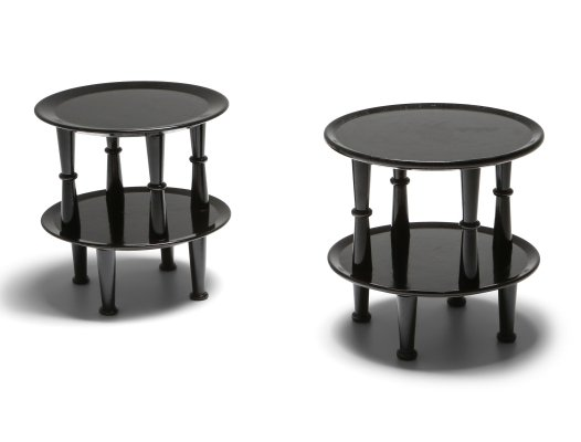 Black Lacquer post-modern Side Tables, 1970s