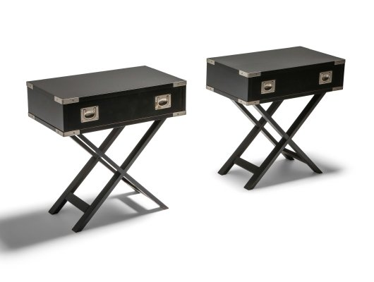Pair of Post-modern 'Director' bed side Tables, 1980s
