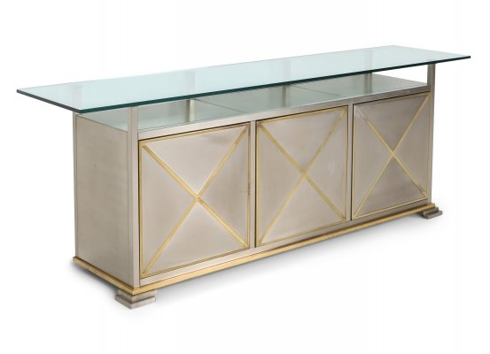 Maison Jansen Credenza with Clear Glass Top, 1970s