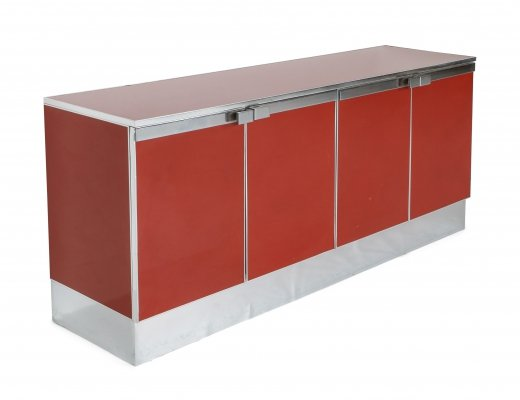 Red Lacquer & Chrome Credenza, 1980s