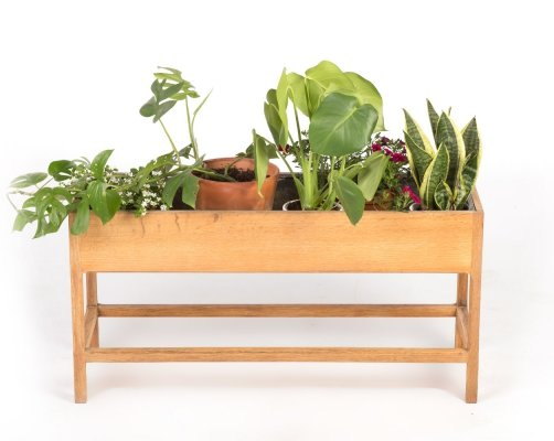 Vintage Danish Aksel Kjersgaard planter in light oak