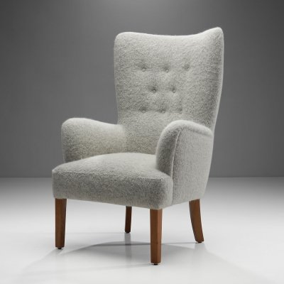 Ole Wanscher 'Model 1673' Highbacked Easy Chair for Fritz Hansen, Denmark 1940s
