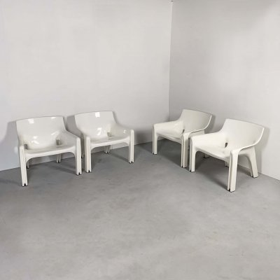 Set of 4 Vicario Lounge Chairs by Vico Magistretti for Artemide, 1970s