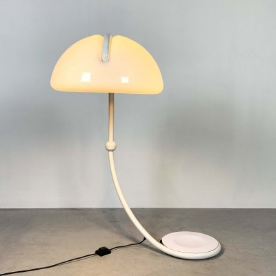 White Serpente Floor lamp by Elio Martinelli for Martinelli Luce, 1970s