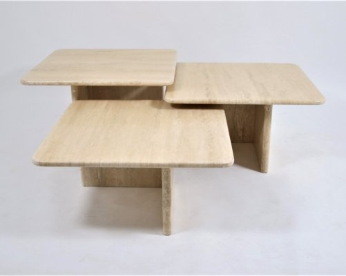 Travertine marble table set, 1960's