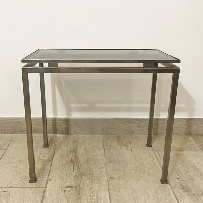1960's Chromed Brass Coffee Table with Smoked Glass Top