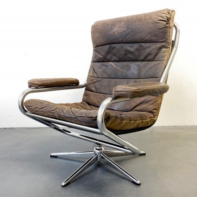 Leather brown Swivel Lounge Chair with Aluminium Frame, Germany 1960s