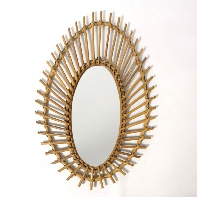 French vintage rattan mirror, 1960's