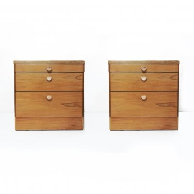 Pair of Mid-Century Teak Bedside Cabinets by Stag, 1960s