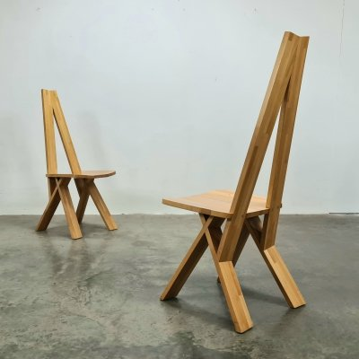 Set of 2 Chlacc chairs by Pierre Chapo, 1980s