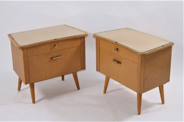 Pair of German design bedside tables with glass top, 1960s
